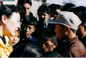 An interview with children at the Children's village at Dharmsāla. (Photo courtesy of Ms. Sheng Xue)
